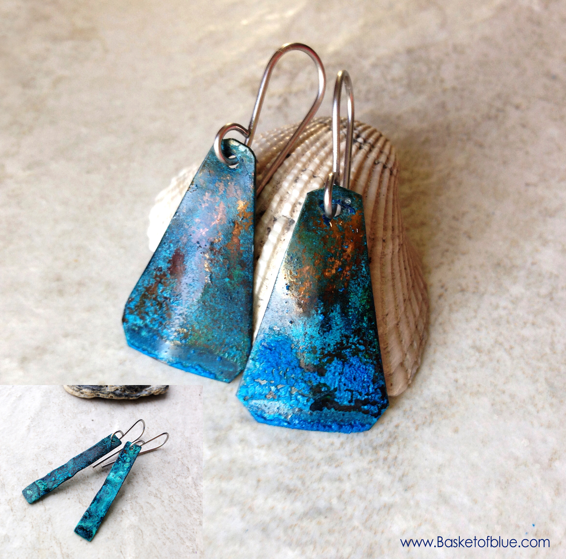 Blue Patina Earrings Natural Copper Jewelry