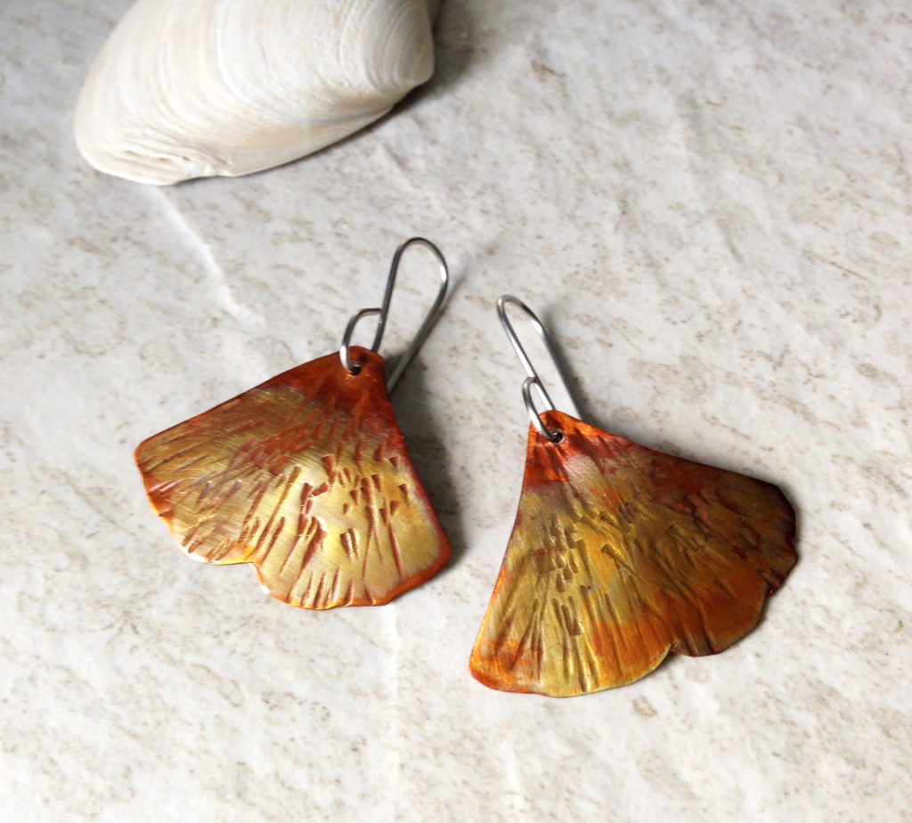 ginkgo earrings copper gingko leaf jewelry