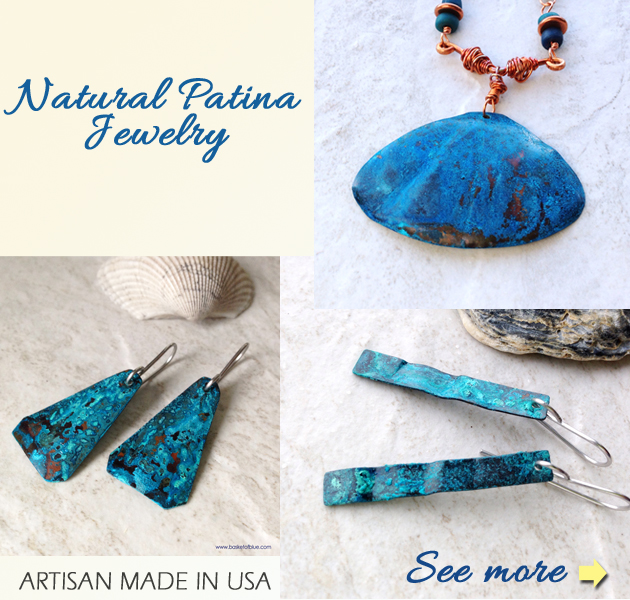 natural patina jewelry blue copper patina